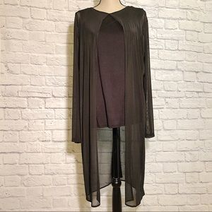ONE A NWT Black Chiffon Overlay Layered Look Top